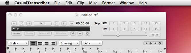 スクリーンショット Macでテープ起こし CasualTranscriber